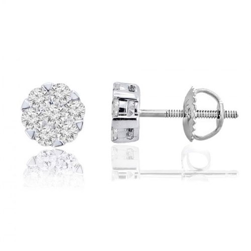 10K White Gold Stud Earrings m13e1087v9b10