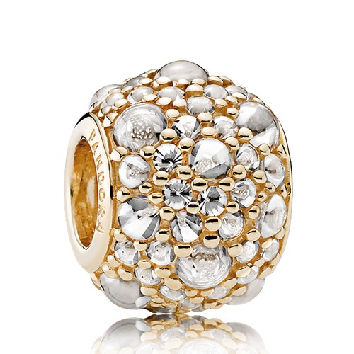 PANDORA Shimmering Droplets, 14K Gold & Clear CZ Charm
