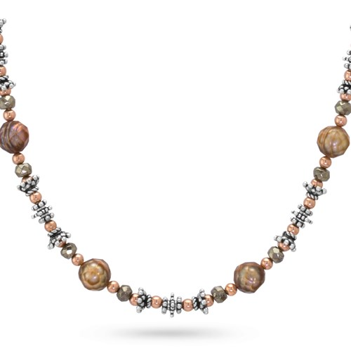 Pyrite & Pearl Necklace 10354N