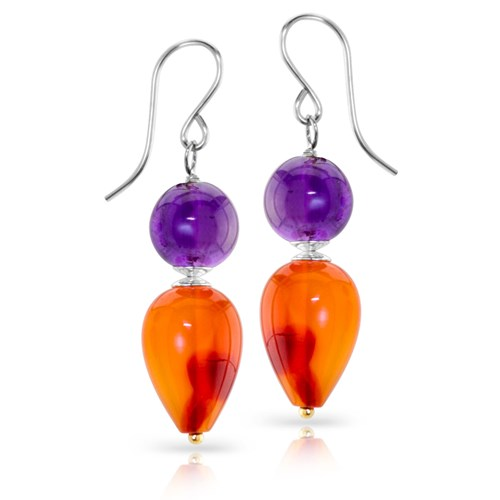 Impressionist Collection Carnelian & Amethyst Dangle Earrings 10835E