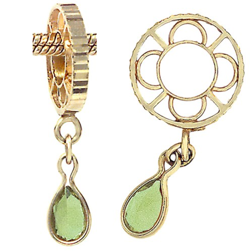 Storywheels Peridot Pear Shaped Dangle 14K Gold Wheel Charm