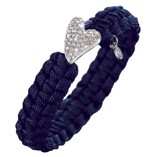 From Soldier to Soldier Navy Silver CZ Heart Clasp Bracelet