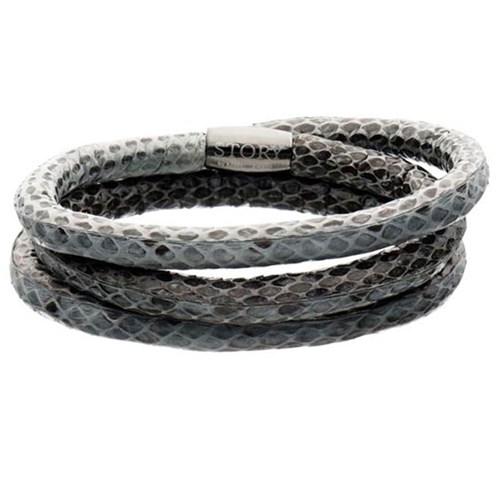 Story By Kranz Ziegler Triple Wrap Grey Snakeskin Bracelet