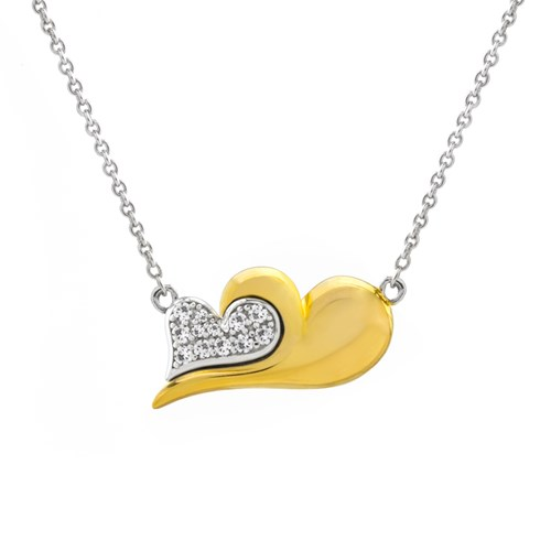 Petra Azar White Sapphire Two Tone Mini Heart Necklace