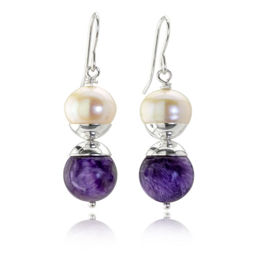 The Goddess Collection Freshwater Pearl & Charoite Earrings 10739E