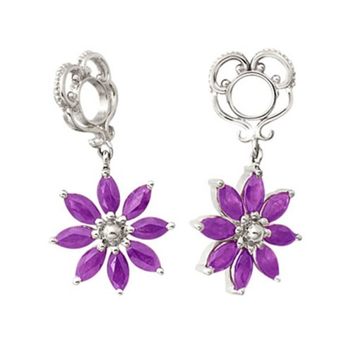 Storywheels Amethyst Poinsettia Dangle 14K White Gold Wheel
