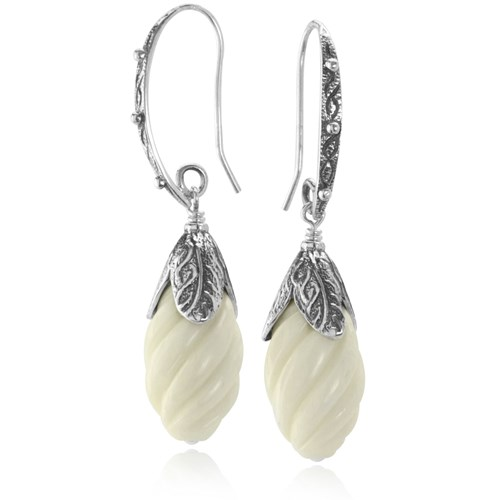 The Goddess Collection Carved Bone Twist Earrings Made in the USA