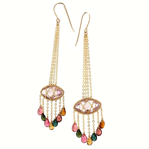 Elisa Ilana Chain-Wrapped Amethyst & Tourmaline Earrings