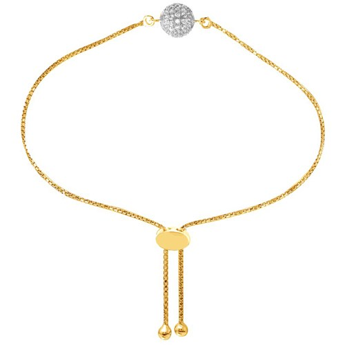 Allie Pavé Ball CZ Petite Friendship Bracelet Gold