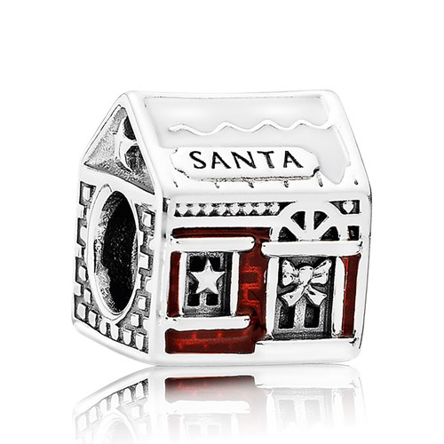 PANDORA Santa's Home White & Translucent Red Enamel Charm