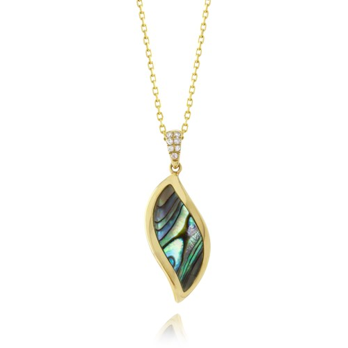 Venus Curved Left Abalone Diamond Pendant Necklace P3761A-4-YAL Frederic Sage Diamond Necklace