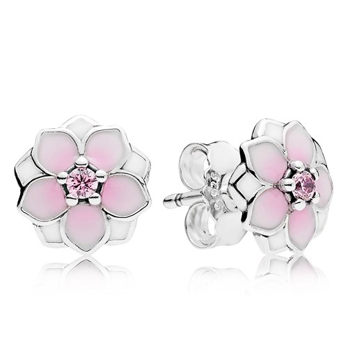 Pandora Magnolia Bloom Pale Cerise Enamel Pink Cz Earrings