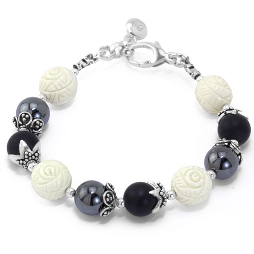 The Goddess Collection Hematite, Onyx & Carved Rose Bracelet Made in the USA