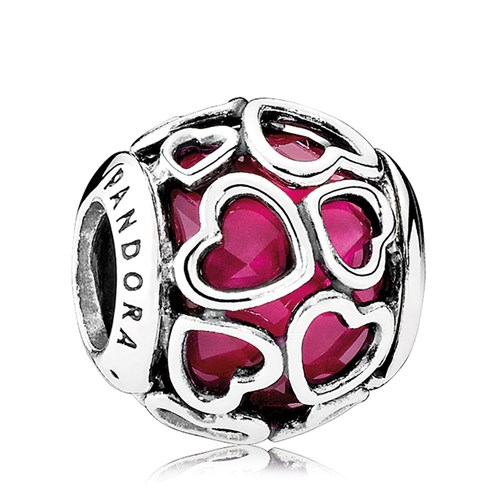 PANDORA Cerise Encased in Love, Cerise Crystal Charm