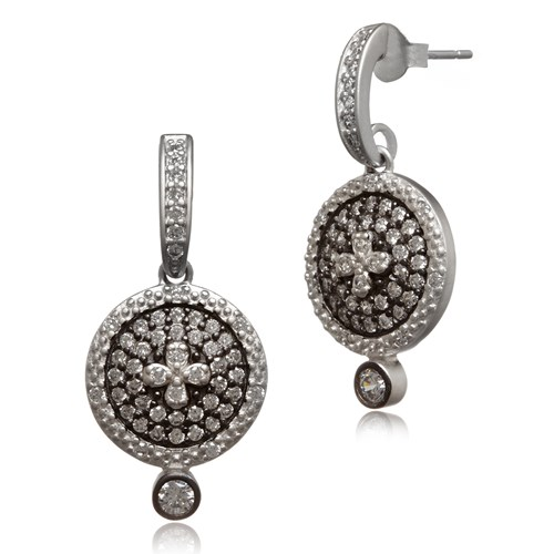 Freida Rothman Small Clover Pavé Disc Earrings