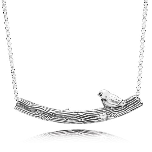 PANDORA Spring Bird Curved Bar Necklace