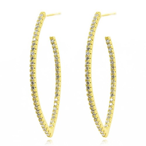 Freida Rothman Pavé Oval Hoop Earrings