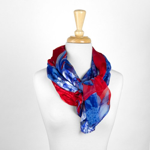 Red and Blue Floral Silk Scarf