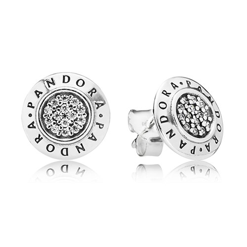 PANDORA Signature with Clear CZ Stud Earrings