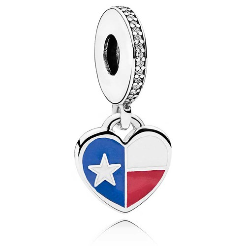 PANDORA Texas Flag Heart Dangle Charm ENG792017CZ_9
