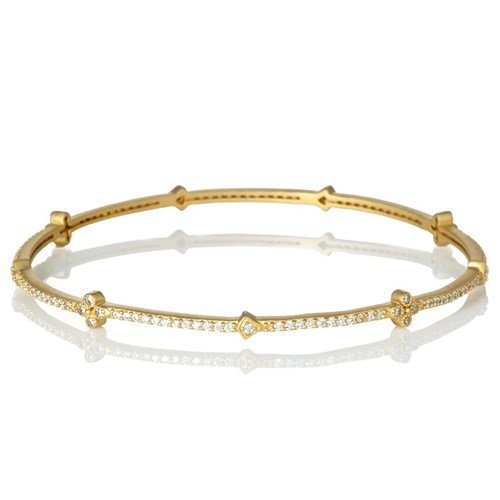 Freida Rothman Pavé Clover Station Eternity Bangle