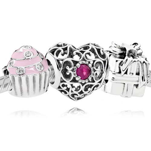 PANDORA Happy July Birthday Charm Set