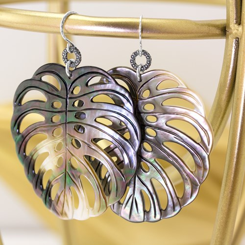 The Goddess Collection Mother of Pearl Leaf Earrings 10957E