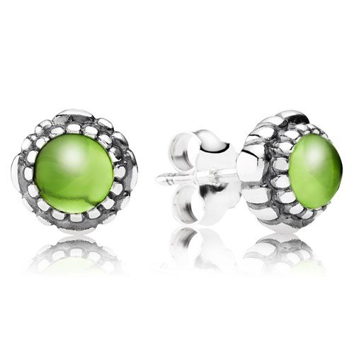 PANDORA Peridot August Birthday Bloom Stud Earrings