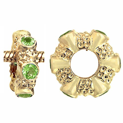 Storywheels Peridot 14K Gold Wheel Charm