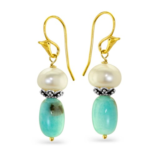 Impressionist Collection Pearl & Amazonite Earrings 10849E