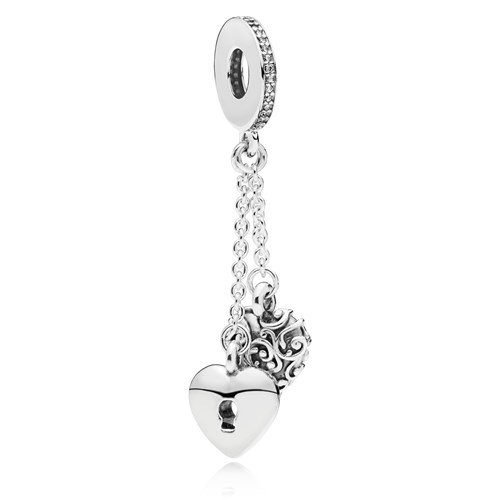 PANDORA Lock & Heart Dangle Charm 797642CZ