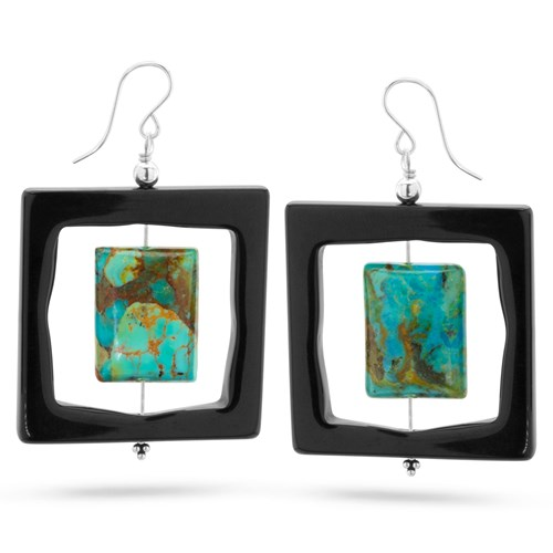 Turquoise & Onyx Earrings 11035E