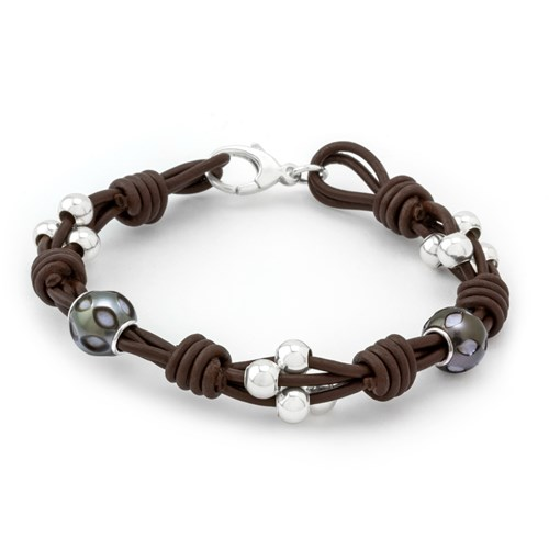 Greek Leather & Carved Pearls Bracelet 10792B