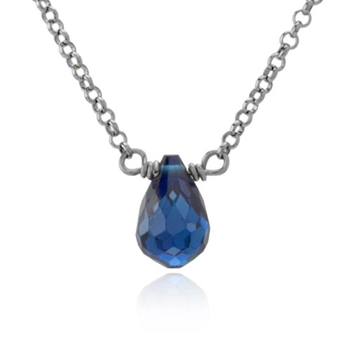 Sterling Silver Blue CZ Drop Necklace