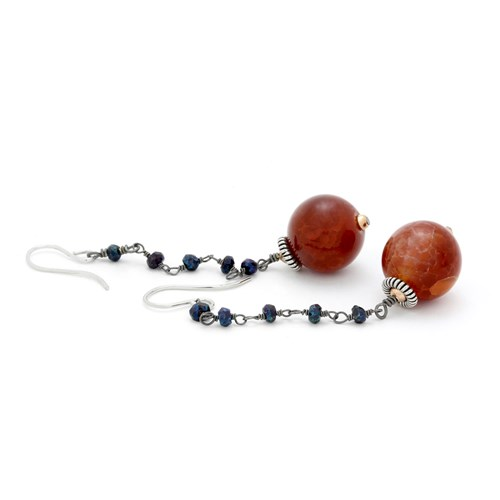 Elisa Ilana Mystic Onyx & Carnelian Earrings