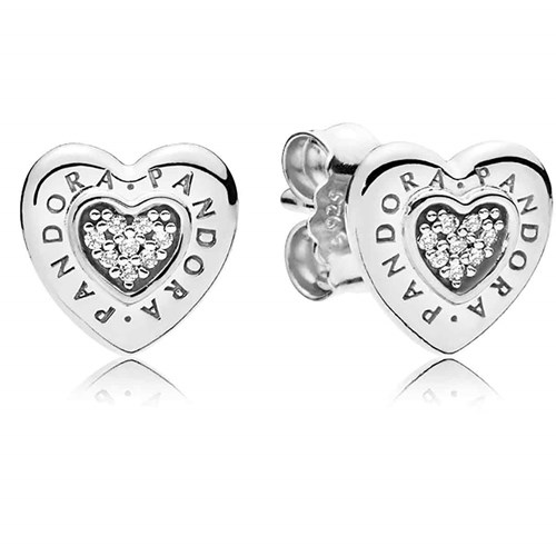 PANDORA Signature Heart Stud Earrings 297382CZ