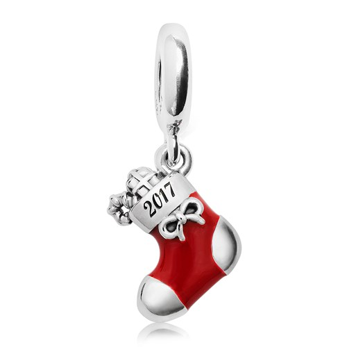 PANDORA 2017 Engraved Christmas Stocking Limited Edition Charm