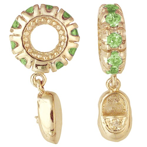 Storywheels Peridot & Diamond Baby Shoe 14K Gold Wheel Charm