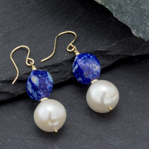 Impressionist Collection Lapis Lazuli & Freshwater Pearl Earrings 109900E
