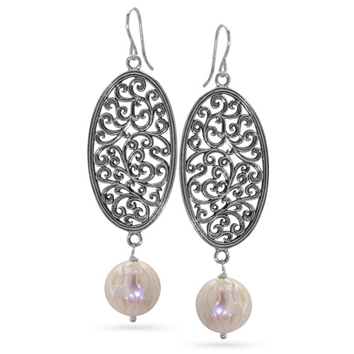 Carved Pearl Dangle Earrings