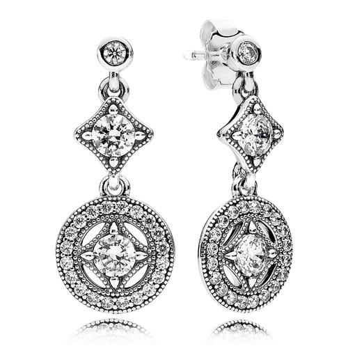 PANDORA Vintage Allure, Clear CZ Earrings