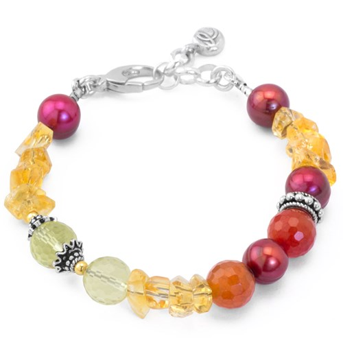 Impressionist Collection Citrine & Faceted Agate Bracelet 10816B