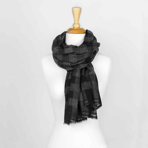 Black Plaid Unisex Wool Scarf 10313C