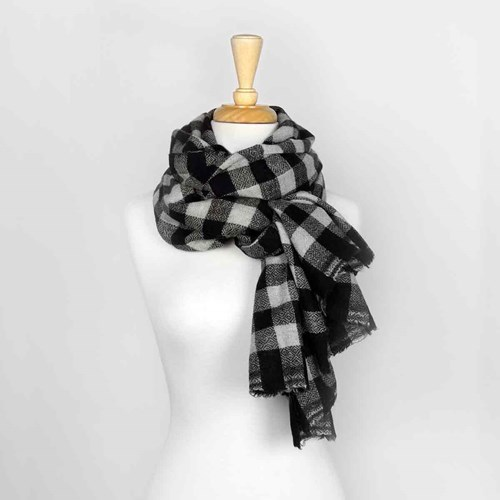 Black & White Plaid Unisex Wool Scarf 10313D