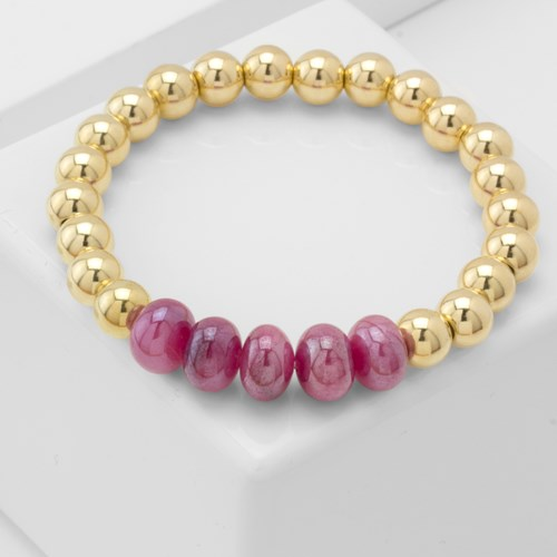 Impressionist Collection Red Moonstone & Gold Bracelet 10888B