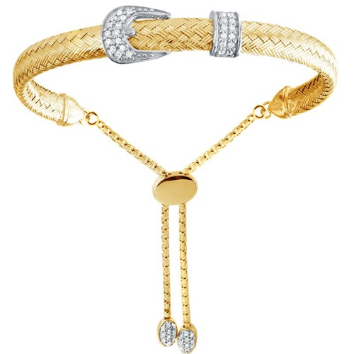 Vicky Buckle CZ Mesh Friendship Bracelet Gold