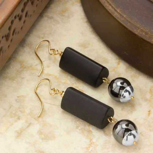 Impressionist Collection Matte Onyx & Hematite Dangle Earrings 10901E