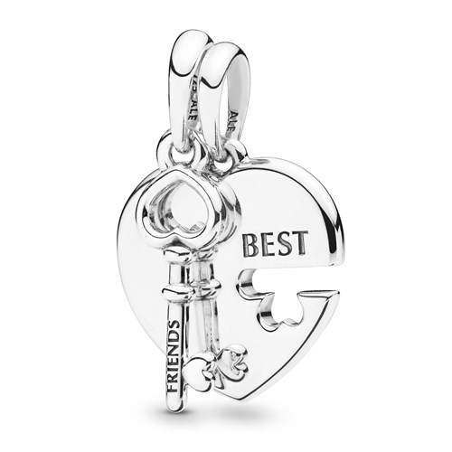 Pandora Best Friends Heart & Key Necklace Pendant 398130
