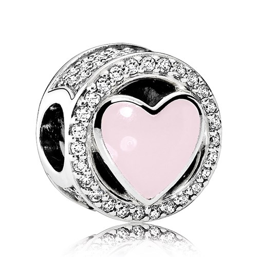 PANDORA Wonderful Love, Soft Pink Enamel & Clear CZ Charm
