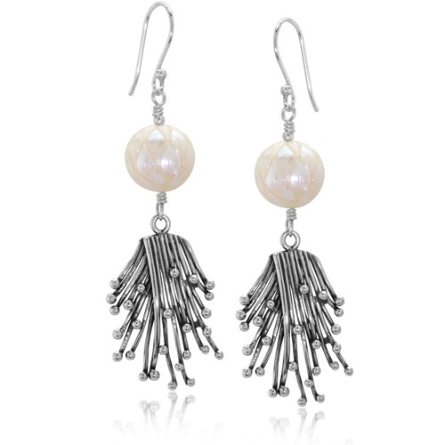 Impressionist Collection Carved Pearl Wired Earrings 10866E